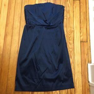 Navy blue strapless stretch satin cocktail dress